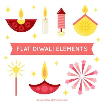 Paquet d'éléments de diwali plats