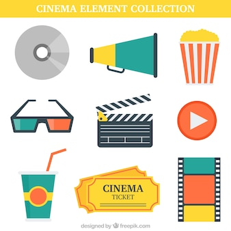 Paquet d'éléments de films en design plat