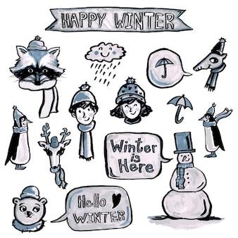 Paquet d'éléments d'hiver dessinés à la main
