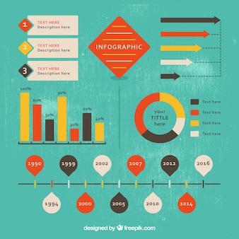 Paquet d'éléments infographiques dans le style vintage