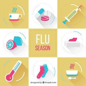 Paquet d'éléments de la saison de la grippe plat