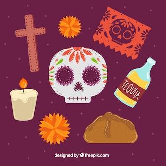 Paquet d'éléments typiques du jour des morts