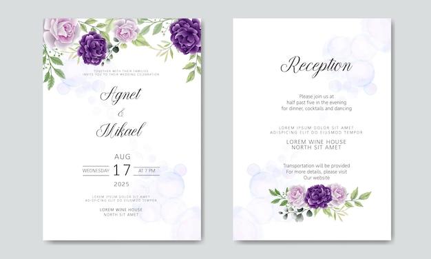 Paquet et ensemble d'invitation de mariage en modèle floral