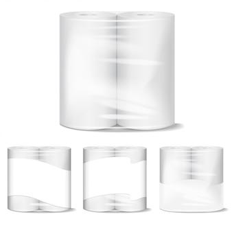 Paquet d'essuie-tout de cuisine avec emballage transparent. modèle d'illustration