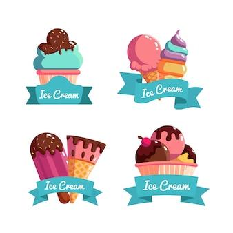 Paquet d'étiquettes de crème glacée plate