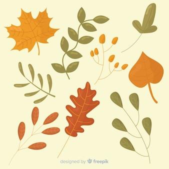Paquet de feuilles d'automne plates