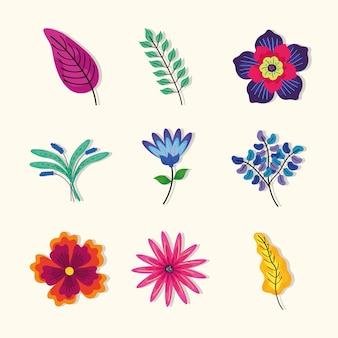 Paquet de feuilles avec des fleurs