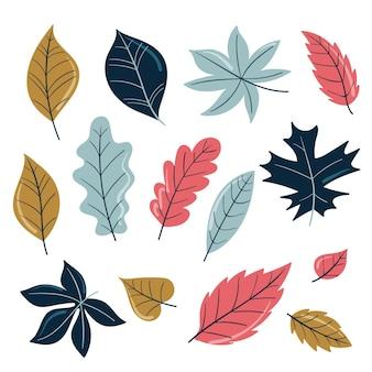 Paquet de feuilles de forêt dessinées à la main