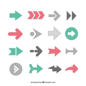 Paquet de flèches infographiques dans un design plat