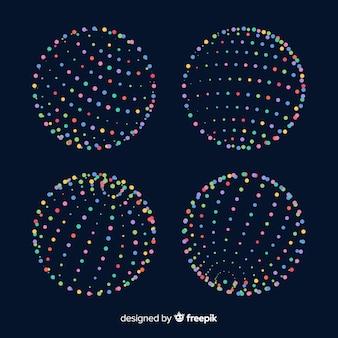 Paquet de formes géométriques 3d de particules colorées