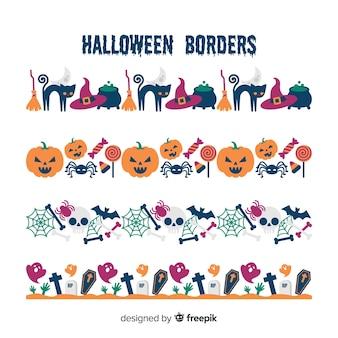 Paquet de frontières décoratives d'halloween au design plat