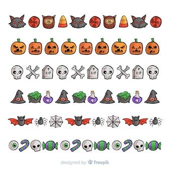 Paquet de frontières halloween décoratives dans un style dessiné à la main