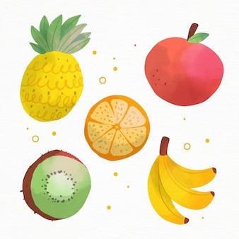 Paquet de fruits aquarelle peinte à la main