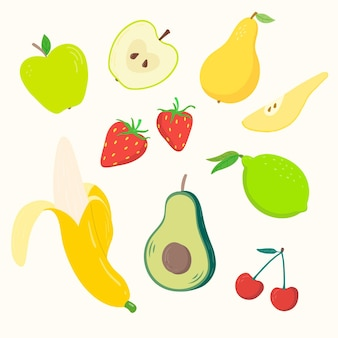 Paquet de fruits frais dessinés à la main