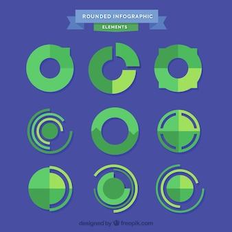 Paquet de graphiques ronds en tons verts