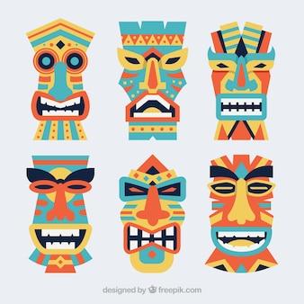 Paquet hawaïen de masques tribaux plats