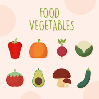 Paquet D & # 39; Icônes De Légumes Alimentaires Vecteur Premium