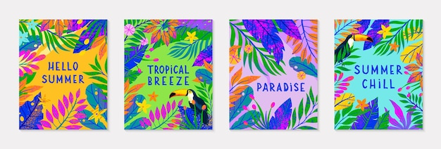 Paquet d'illustration vectorielle d'été avec des feuilles tropicales lumineuses et des plantes toucanmulticolor