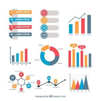 Paquet infographique avec style coloré