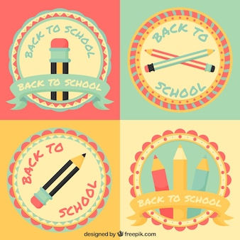 Paquet de jolis badges scolaires de style vintage