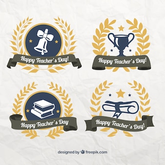 Paquet de jour stickers ornement heureux enseignant