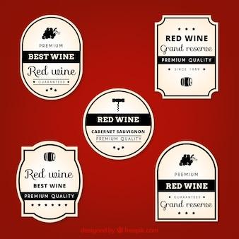 Paquet de labels réels de vin