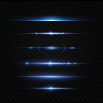 Paquet lentilles horizontales bleues, éblouissement, faisceaux laser, éblouissement, rayons lumineux, rayures brillantes.