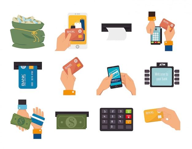 Paquet de mains avec des icônes de jeu d'entreprise