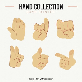 Paquet de mains et la langue des signes