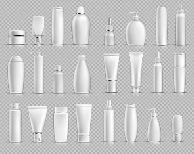 Paquet de maquette en plastique de paquet réaliste de vecteur cosmétique