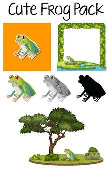 Un paquet de mignon grenouille
