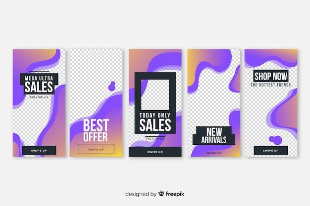 Paquet de modèles d'instagram d'histoires de vente de formes fluides