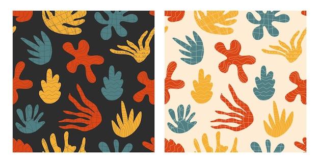 Paquet de motifs abstraits avec des formes naturelles