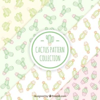 Paquet de motifs de cactus en style linéaire