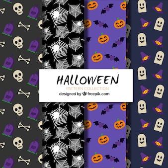 Paquet de motifs d'halloween en conception plate