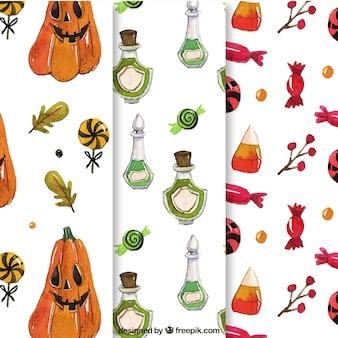 Paquet de motifs de halloween avec potions et bonbons