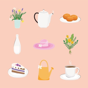 Paquet de neuf délicieux petit déjeuner ensemble icônes illustration