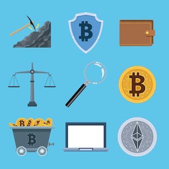 Paquet de neuf icônes de jeu de monnaie crypto vector illustration design