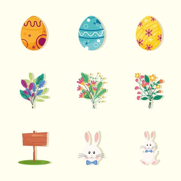 Paquet de neuf joyeuses pâques ensemble icônes illustration