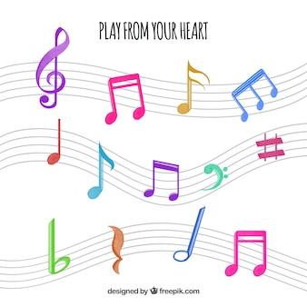Paquet de notes colorées de musique
