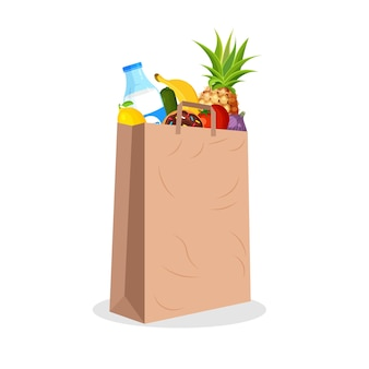 Paquet de papier plein de fruits et légumes. sac de supermarché avec de la nourriture. épicerie dans un style plat branché. agriculture, alimentation fraîche et agriculture biologique.