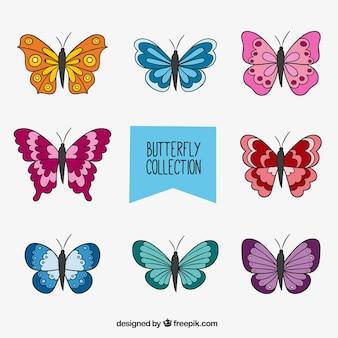 Paquet de papillons colorés hand-drawn