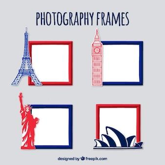 Paquet de la photographie des cadres avec des monuments