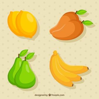 Paquet plat de fruits délicieux