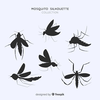 Paquet plat de silhouettes de moustiques