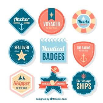 Paquet de plusieurs badges nautiques