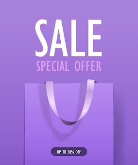 Paquet pour les achats sac shopping en papier coloré offre spéciale vente discount concept illustration verticale