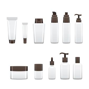 Paquet de produit cosmétique, emballage vide blanc de bouteille de beauté