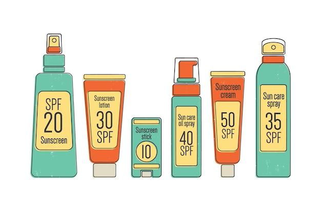 Paquet de produits cosmétiques de protection solaire spf dans divers emballages isolés