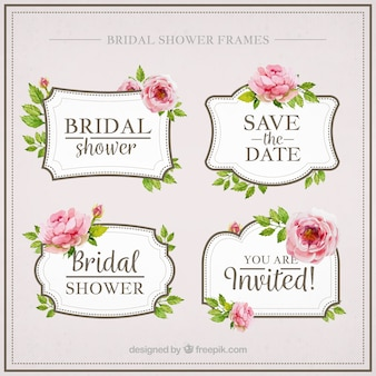 Paquet de quatre aquarelle douche nuptiale avec des fleurs
